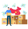 partnership with china parcels delivery from asia vector image vector image