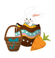rabbit inside egg with hamper and carrot vector image vector image