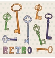 Retro keys collection vector image vector image