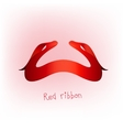 Ribbon banner red d vector image vector image