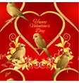 seamless texture little golden birds and heart vector image vector image
