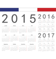 Set of french 2015 2016 2017 year calenda vector image vector image