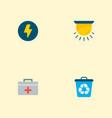 set of urban icons flat style symbols with medical vector image