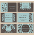 set six floral business cards vector image