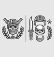 Skull Military Helmet with Knifes vector image vector image