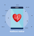 smartphone with telemedicine icons vector image vector image