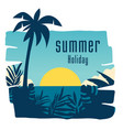 summer holiday sunset jungle leaves coconut tree b vector image