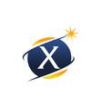swoosh logo letter x vector image vector image