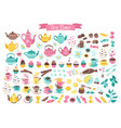 tea time objects isolated vector image vector image