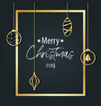 the inscription of merry christmas on a black vector image
