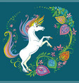 turquoise colorful tangle unicorn and flowers
