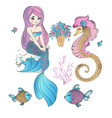 underwater easter mermaid holiday set vector image vector image