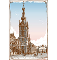 vintage view chimay church place in belgium vector image vector image