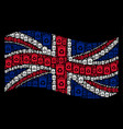 waving great britain flag collage of recycle bin vector image vector image