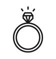 wedding ring with diamond jewelry pictogram line vector image