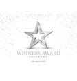 winner award silver star 3d symbol vector image vector image
