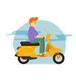 young guy riding yellow scooter motorcycle vector image