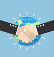 Business handshake with earth globe on background vector image