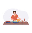 adorable man cooking on kitchen table cartoon vector image vector image