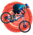 an image of a cyclist on a mountain bike vector image vector image