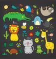 animal doodles set cute animals sketch hand drawn vector image vector image