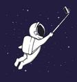 astronaut makes selfie in space vector image vector image