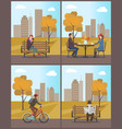autumn city park autumnal town and people vector image vector image
