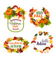 autumn welcome fall leaf wreath icons vector image vector image