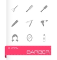 black barber icons set vector image