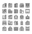 buildings landmarks line icons 4 vector image vector image