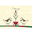 Card with birds and love Tree vector image vector image