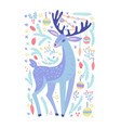 christmas background with forest deer animal vector image vector image