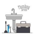color poster of handwash plumbing service vector image vector image