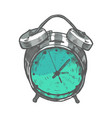 colored alarm clock in hand-drawn style vector image