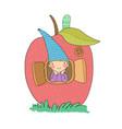 cute cartoon gnome in apple house wood elf vector image