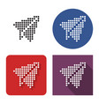 dotted icon paper plane in four variants with vector image vector image