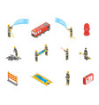 firefighter and fire concept icons 3d isometric vector image