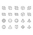 geometric shapes flat line icons set abstract vector image vector image