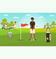 golfing conceptyoung man is about to hit ball vector image