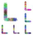 Happy colorful fractal font set - letter L vector image vector image