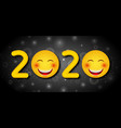 happy new year 2020 with funny emoticons vector image