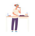 housewife on kitchen woman cooking flat girl vector image