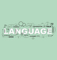 language word for education with icons flat design vector image vector image