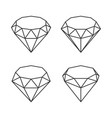 line style diamond crystal set on white background vector image vector image