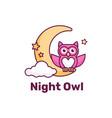 logo night owl simple mascot style vector image