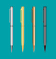 metal pen set mockup realistic vector image