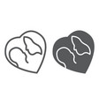 mother and baby line and glyph icon love and vector image vector image