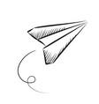 paper plane sketched icon vector image vector image