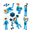people in gym sport characters making cardio vector image vector image