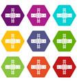 railroad crossing icons set 9 vector image vector image